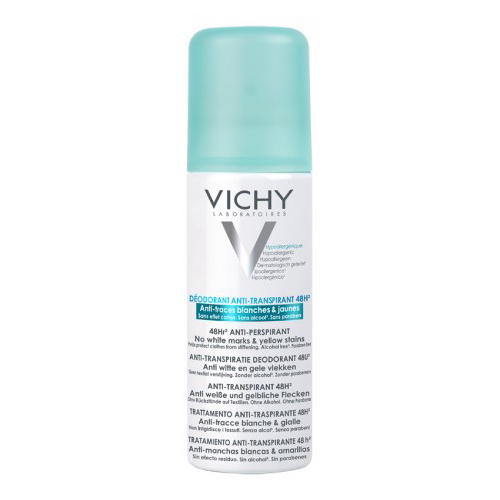 Vichy Дезодорант-антиперспирант 48ч спрей против белых и желтых пятен, 125 мл
