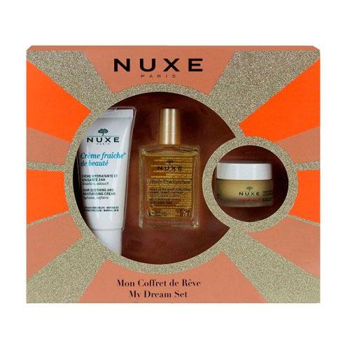 Nuxe Новогодний набор 2016 бестселлеры: сухое масло 30мл + крем фреш 30мл + бальзам для губ 15мл