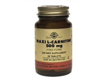 Solgar  L-карнитин ,аминокислота для превращению жиров с мышечную массу 500 мг 30 таблеток